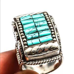 Tibetan Turquoise  Sterling Silver Handmade Ring